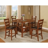 Lavista 5-Piece Counter Height Table Set in Dark Oak - Coaster - 102158-9-DSET