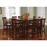 Counter Height Dining Table and Chair Set in Rich Walnut - Coaster