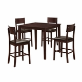 5-Piece Stanley Wood Pub Table Set in Espresso - TW40PBES