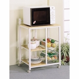 Microwave Cart in White / Natural - Coaster