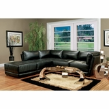 Leather Sectional Sofa Set - 5 Piece in Black Leather - Coaster