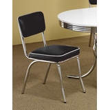 Chrome Chair with Black Cushion (Set of 2) in Chrome / Black - Coaster