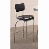 29 Inch Chrome Plated Bar Chair (Set of 2) in Chrome / Black Cushion - Coaster