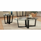 3 Piece Table Set in Black Metal / Glass Top - Coaster