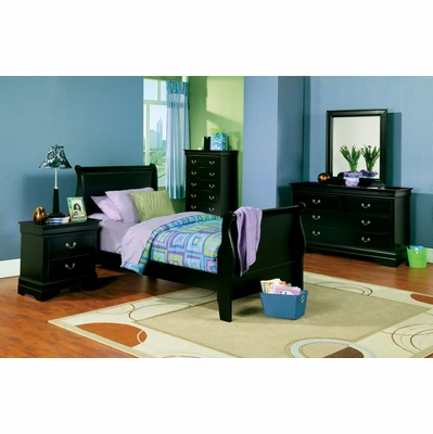 Louis Philippe Full Size Bedroom Furniture Set in Deep Black - Coaster ...