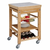 Bamboo Inlaid Kitchen Island with Granite Top - Linon Furniture - 44031BMB-01-KD-U