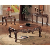 Occasional Table Set in Deep Brown - Coaster