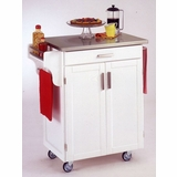 Kitchen Cart in White with Stainless Steel top - 90010022