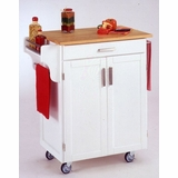 Kitchen Cart in White with Wood top - 90010021