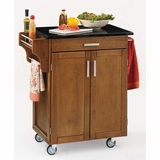 Kitchen Cart - Cottage Oak Wood Cart with Black Granite Top - Home Styles - 9001-0064