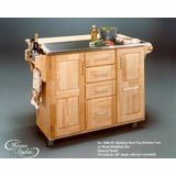 Kitchen Cart with Stainless Steel Top and Wood Breakfast Bar - 5086-95