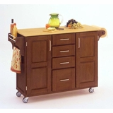 Kitchen Cart in Cottage Oak with Wood top - 91001061