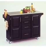 Kitchen Cart in Black with Stainless Steel top - 91001042
