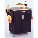 Kitchen Cart in Black with Stainless Steel top - 90010042
