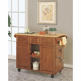 3-Drawer Kitchen Butler - Medium Oak - Powell Furniture - 534-477
