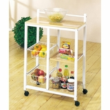 White Finish Kitchen Cart - Sitara - 02668