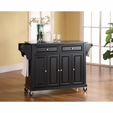 Solid Black Granite Top Kitchen Cart/Island in Black Finish - Crosley Furniture - KF30004EBK