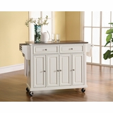 Stainless Steel Top Kitchen Cart/Island in White Finish - Crosley Furniture - KF30002EWH