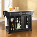 Alexandria Natural Wood Top Kitchen Island in Black Finish - Crosley Furniture - KF30001ABK