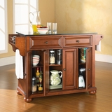 Alexandria Solid Black Granite Top Kitchen Island in Classic Cherry Finish - Crosley Furniture - KF30004ACH