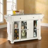 Alexandria Solid Granite Top Kitchen Island in White Finish - Crosley Furniture - KF30003AWH