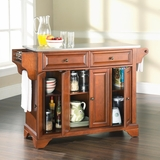 LaFayette Stainless Steel Top Kitchen Island in Classic Cherry Finish - Crosley Furniture - KF30002BCH