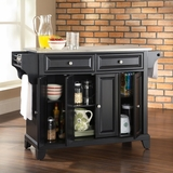 Newport Stainless Steel Top Kitchen Island in Black Finish - Crosley Furniture - KF30002CBK