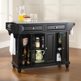 Cambridge Solid Granite Top Kitchen Island in Black Finish - Crosley Furniture - KF30003DBK