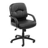 Boss Mid Back Chair in Leatherplus Black - B7407