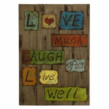 Life Laugh Love Tin and Wood Decor - IMAX - 87140