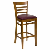HERCULES Ladder Back Cherry Wood Bar Stool with Burgundy Vinyl Seat - XU-DGW0005BARLAD-CHY-BURV-GG