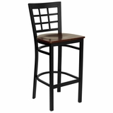 HERCULES Black Window Back Metal Bar Stool with Mahogany Wood Seat - XU-DG6R7BWIN-BAR-MAHW-GG