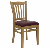 HERCULES Vertical Slat Back Natural Wood Chair with Burgundy Vinyl Seat - XU-DGW0008VRT-NAT-BURV-GG