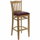 HERCULES Vertical Slat Back Natural Wood Bar Stool with Burgundy Vinyl Seat - XU-DGW0008BARVRT-NAT-BURV-GG
