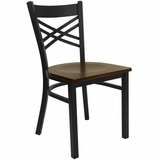 HERCULES Black X Back Metal Chair with Mahogany Wood Seat - XU-6FOBXBK-MAHW-GG
