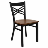 HERCULES Black X Back Metal Chair with Cherry Wood Seat - XU-6FOBXBK-CHYW-GG