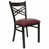 HERCULES Black X Back Metal Chair with Burgundy Vinyl Seat - XU-6FOBXBK-BURV-GG