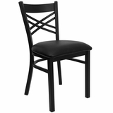 HERCULES Black X Back Metal Chair with Black Vinyl Seat - XU-6FOBXBK-BLKV-GG