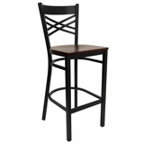 HERCULES Black X Back Metal Bar Stool with Mahogany Wood Seat - XU-6F8BXBK-BAR-MAHW-GG