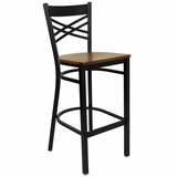 HERCULES Black X Back Metal Bar Stool with Cherry Wood Seat - XU-6F8BXBK-BAR-CHYW-GG