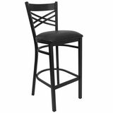 HERCULES Black X Back Metal Bar Stool with Black Vinyl Seat - XU-6F8BXBK-BAR-BLKV-GG