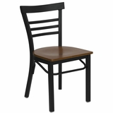 HERCULES Black Ladder Back Metal Chair with Cherry Wood Seat - XU-DG6Q6B1LAD-CHYW-GG