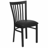 HERCULES Black Schoolhouse Back Metal Chair with Black Vinyl Seat - XU-DG6Q4BSCH-BLKV-GG