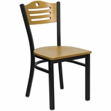 HERCULES Slat Back Black Metal Chair with Natural Wood Seat and Back - XU-DG-6G7B-SLAT-NATW-GG