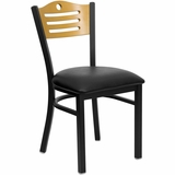 HERCULES Slat Back Black Metal Restaurant Dining Chair with Black Vinyl Seat and Natural Wood Back - XU-DG-6G7B-SLAT-BLKV-GG
