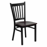 HERCULES Series Black Vertical Back Metal Restaurant Chair - Mahogany Wood Seat - XU-DG-6Q2B-VRT-MAHW-GG