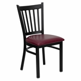 HERCULES Series Black Vertical Back Metal Restaurant Chair - Burgundy Vinyl Seat - XU-DG-6Q2B-VRT-BURV-GG