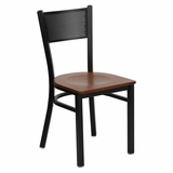 HERCULES Series Black Grid Back Metal Restaurant Chair - Cherry Wood Seat - XU-DG-60115-GRD-CHYW-GG