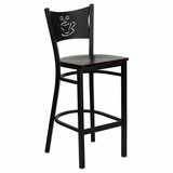 HERCULES Series Black Coffee Back Metal Restaurant Bar Stool - Mahogany Wood Seat - XU-DG-60114-COF-BAR-MAHW-GG