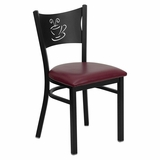 HERCULES Series Black Coffee Back Metal Restaurant Chair - Burgundy Vinyl Seat - XU-DG-60099-COF-BURV-GG